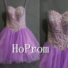 Spaghetti Straps Prom Dress,Short Organza Prom Dresses