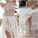 Halter White Prom Dress,Open Back Prom Dresses