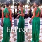 Green Chiffon Prom Dress,Backless Long Prom Dresses