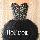 Crystal Beaded Prom Dress,Black Short Prom Dresses