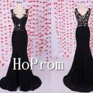 Lace Applique Prom Dress,Black Mermaid Prom Dresses