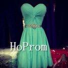 Short Green Prom Dress,Mini Chiffon Prom Dresses
