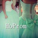Sweetheart Green Prom Dress,Beaded Long Prom Dresses