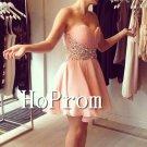 Sweetheart Short Prom Dress,Beading Pink Prom Dresses