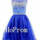 Royal Blue Prom Dress,Short Beading Prom Dresses