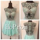 Short Beading Prom Dress,Green Organza Prom Dresses