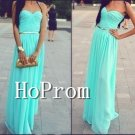 A-Line Long Prom Dress,Mint Chiffon Prom Dresses