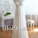 Cap Sleeve Prom Dress,White Long Prom Dresses
