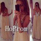 Spaghetti Straps Prom Dress,Backless Beaded Prom Dresses