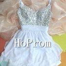 Halter Beading Prom Dress,Short Prom Dresses
