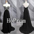 V-Neck Prom Dresses,Black Beaded Prom Dress