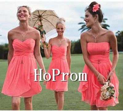 Coral Chiffon Prom Dresses,Strapless Prom Dresses