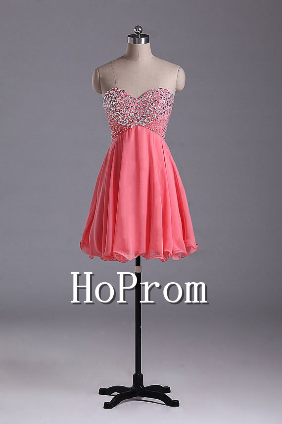 Short Beaded Prom Dresses,A-Line Chiffon Prom Dresses