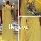 One Shoulder Prom Dresses,Yellow Chiffon Prom Dresses