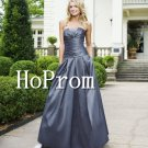 Grey Satin Prom Dresses,Strapless Prom Dress