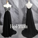 Black Beaded Prom Dresses,Chiffon Prom Dress