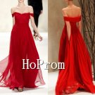 Off Shoulder Prom Dresses,Red Chiffon Prom Dress