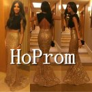 Two Piece Prom Dress,Sparkly Golden Prom Dresses