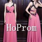 One Shoulder Prom Dress,Pink Long Prom Dresses