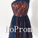 One Shoulder Prom Dress,Short Lace Prom Dresses