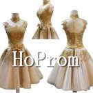 High Neck Prom Dress,Gold Applique Prom Dresses