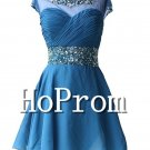 Cap Sleeve Prom Dress,Beading Blue Prom Dresses