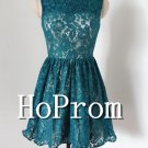 Sleeveless Short Prom Dress,Blue Lace Prom Dresses