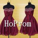 Sweetheart Beaded Prom Dress,Burgundy Organza Prom Dresses