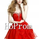Sweetheart Red Prom Dress,Short Organza Prom Dresses