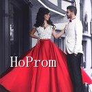 White Red Prom Dress,Floor Length Prom Dresses,Evening Dress