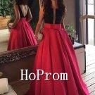 Sleeveless Red Prom Dress,Long Satin Prom Dresses