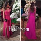 Hot Pink Prom Dress,Slit Chiffon Prom Homecoming Dresses