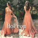 Sleeveless Long Prom Dress,Applique Lace Prom Dresses
