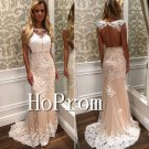 Backless Lace Prom Dress,Floor Length Prom Dresses
