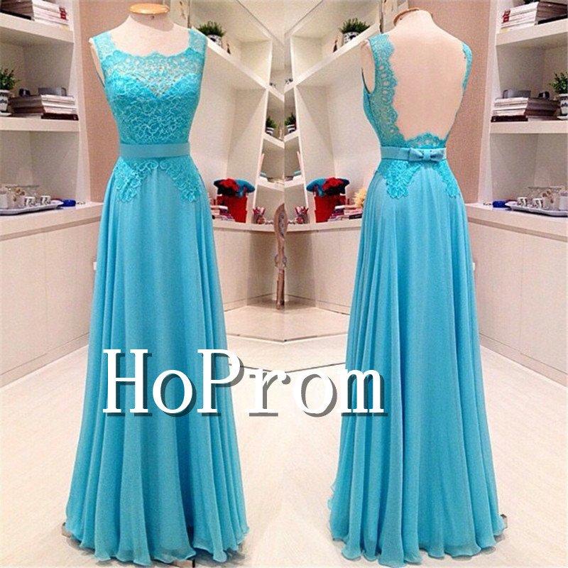 A-Line Blue Prom Dress,Backless Long Prom Dresses