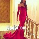Off Shoulder Prom Dress,Red Mermaid Prom Dresses