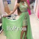 High Neck Prom Dress,Sleeveless Green  Prom Dresses