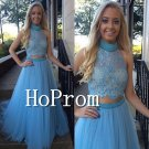 High Neck Prom Dress,Two Piece Prom Dresses