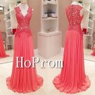 Sleeveless Applique Prom Dress,Lace Chiffon Prom Dresses