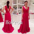 V-Neck Chiffon Prom Dress,Sleeveless Long Prom Dresses