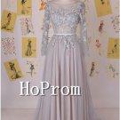 Long Sleeve Prom Dress,Backless Grey Prom Dresses