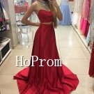 Two Piece Prom Dress,Red Satin Prom Dresses