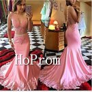 Sleeveless Pink Prom Dress,Applique Mermaid  Prom Dresses