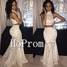 High Neck Prom Dress,Lace Mermaid Prom Dresses