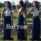 Halter Long Prom Dress,White Applique Prom Dresses