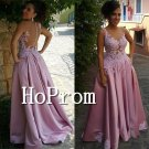 Sleeveless Satin Prom Dress,A-Line Applique Prom Dresses