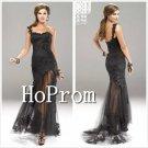 One Shoulder Black Prom Dress,Lace Tulle Prom Dresses