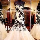 Floor Length Prom Dress,Mermaid Applique  Prom Dresses