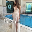 Spaghetti Straps Sweetheart Prom Dress,V-Neck Lace Prom Dresses
