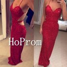 Spaghetti Straps Prom Dress,Red Sparkly V Neck Prom Dresses